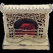 Rare Antique German Dollhouse Tinplate Fretwork Fireplace C.1900.
