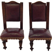 Nice Pair of Old Miniature Leather Chairs for Doll House. C.1880
