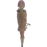 Very Rare Porcelain Flapper Girl Doll, Miniature Silk Dolls Parasol. 1920's