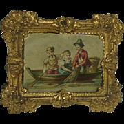 Superb Antique picture for Dolls House. Decorative Repoussé Frame 19th Century.