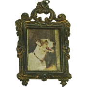Antique Miniature Dog Picture and  Frame for Dolls House.