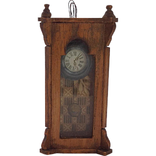 Antique German Miniature Wall Clock for Dolls House.