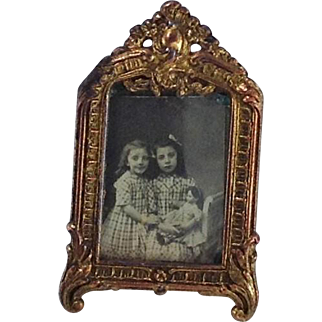 Stunning Antique Gilt Metal Photograph Frame and Photograph for Dolls House. C1900