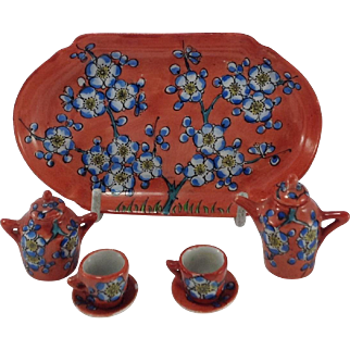 Antique Miniature French Desvre Tea Set For Doll House by G. Fourmaintraux.