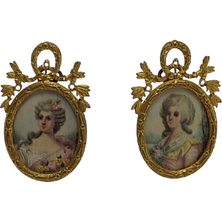 Exquisite Pair of 19th Century Miniature Paintings of Ladies. Small Enough for Doll House.