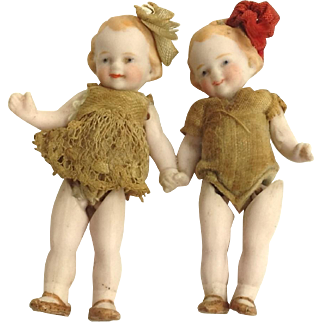Very Rare Antique German Miniature Bisque Twin Dolls Holding Hands. C.1900