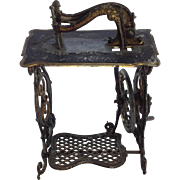 Antique Miniature Tin Plate Toy Sewing Machine. Ideal for Dolls House.
