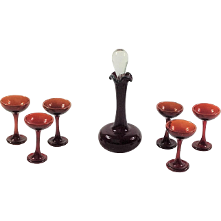 Miniature Antique Ruby Glass Wine Set for Dolls House.