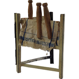 Antique Tin Plate Clothes Horse, Laundry Airer, Tea Towels and Pegs for Doll House.