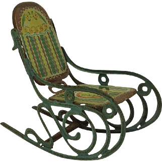 Rare Tin-plate Rocking Chair for Dolls House. Antique C.1900