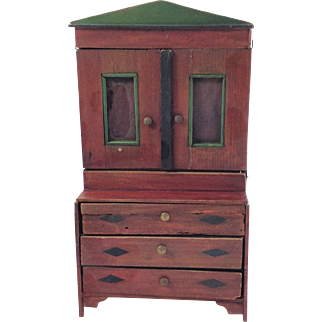 Antique French Painted Cupboard for Dolls House. 19th Century.