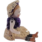 Gorgeous Miniature Antique German Bisque Doll. Dolls House Size.