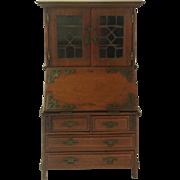 Unique Miniature Antique Writing Bureau. Secret Locking Mechanism. Craftsman Made With Provenance. 1911.