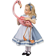 "10"" R. John Wright Alice in Wonderland Doll with Flamingo"