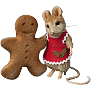 "R. John Wright Christmas ""Ginger"" 3"" Mouse with Cookie Limited Edition 300"