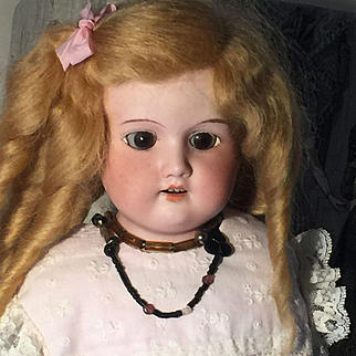 Antique ORIGINAL French bisque Head fashion doll leather body 1910 49cm