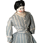 Antique French Fashion Doll Parian K, leather body bisque hands blue eyes 32 cm
