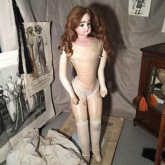 Antique Gaultier, Francois Doll French Fashion swivel head, leather body blue eyes 55 cm