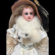 Antique Jumeau French Fashion Doll swivel head, leather body blue eyes 30 cm