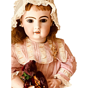 French PARIS Tete Jumeau open mouth Bisque Head doll 85 cm