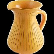 WK Wilhelm Kagel West German Mustard Yellow Pottery Pitcher — Mid Century Modern