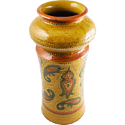 "Vintage Mid Century Aldo Londi Bitossi Ceramiche Italian ""Liberty"" Vase For Rosenthal-Netter, Mustard, Orange and Green — TALL and HEAVY"