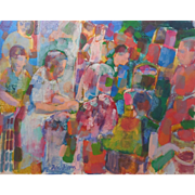 """LISTED ARTIST Don Bloom (American) """"Market In Israel"""" MODERNIST Style — Oil on Canvas"""