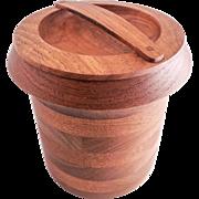 Mid Century Modern Teak Ice Bucket — Wiggers Denmark, Cylinder Shaped