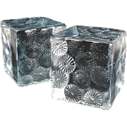 "Mid Century Blenko Moulded ""Ice Glass Sculpture"" Bookends w/ Abstract Flower Design by Designer Joel Myers, c.1967"