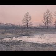LISTED ARTIST Robert Hamblen (American, 20th Century) Landscape Painting — Oil on Masonite