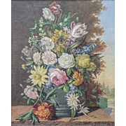 LISTED ARTIST Karl Heiner (Austrian, 19th/20th Century) Floral Still Life Within Landscape Painting — Oil on Canvas
