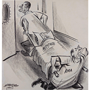 "President Lyndon B. Johnson Original Political Cartoon Illustration by William Crawford (American 1913-1982) — MEDICARE - AMA, ""Is There A Doctor In The House"""