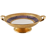 "Pickard, Chicago Studios Blue & 24K Gold ""Tracery & Blue Lustre"" Design Two-Handled Pedestal Bowl — c. 1919-1922 - Red Tag Sale Item"