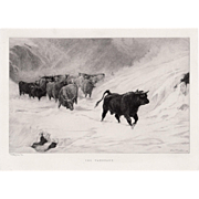 "LISTED ARTIST John A. MacWhirter (Scottish, 1837-1911) ""The Vanguard"" Plate Signed — Western Cattle Etching"