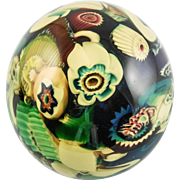 "Italian Art Glass ""Millefiori Flower"" Paperweight by Murano, RARE Ochre Yellow Colors — Mid Century Modern"