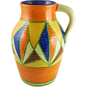 "LARGE Bizarre By Clarice Cliff Art Deco Geometric Pattern ""Lotus JUG"" Single-Handled Hand Painted, Newport Pottery England, c. late 20s-mid 30s"
