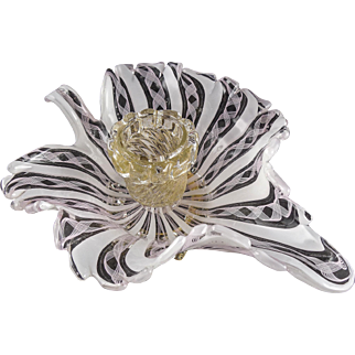 """Mid Century Murano Zanfirico """"Leaf"""" Candle Holder, Gold Leaf, Pink Lace, White Stripe, c.1960s"""