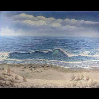 LISTED ARTIST Jim Hitesman (American) Seascape w/ Shorebirds Painting, Bucks County, PA / Iowa Artist — Oil on Masonite