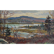 "LISTED ARTIST Wayne Beam Morrell (American, 1923-2013) ""Warm Winter Light"" Landscape Painting — Oil on Masonite — Accomplished NJ / Mass Artist"