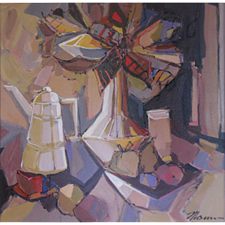 "LISTED Modernist Artist Isaac Maimon (French, Israeli, 1951) ""LUMINOUS STILL LIFE"" — Acrylic on Canvas"