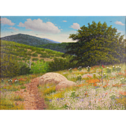 "LISTED Texas ARTIST Manuel Garza (American, 20th Century) ""Wildflowers"" ""Plein Air"" Landscape Painting — Oil on Canvas"