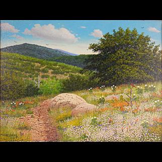 "LISTED Texas ARTIST Manuel Garza (American, 20th Century) ""Wildflowers"" ""Plein Air"" Landscape Painting — Oil on Canvas"