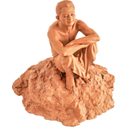 Fine Terracotta Seated Figure Sculpture After A Model —Classic, 20th Century