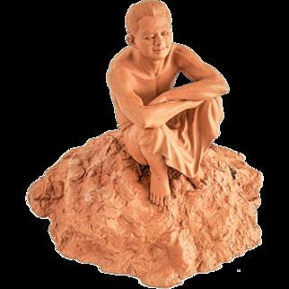 Fine Terracotta Seated Figure Sculpture After A Model —Classic, 20th Century