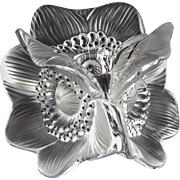 "Sculptural ""Anemones"" Candle Holder by Lalique France — Three-sided, Clear Crystal"