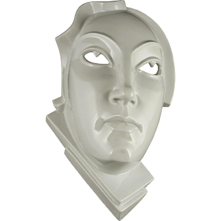 "RARE Rosenthal Art Deco Wall Mask Entitled ""Day"" by Gerhard Schliepstein (German, 1886 - 1963) — c.1924"
