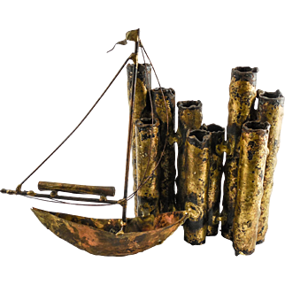 "Brutalist Metal ""Sailboat"" Sculpture by Listed Artist Cliff Widdowson —Mid Century Modern, c. 1977, Signed"