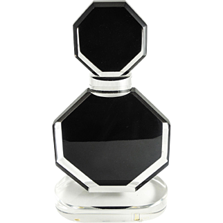 "Shalom Haziza Lucite Sculpture ""Perfume Bottle"", LISTED ARTIST, Black & Clear, Signed, WELL LISTED ARTIST"
