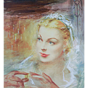 "ORIGINAL Illustration Art of ""Blonde Bride"" — Acrylic on Illustration Board, c. 1920s"