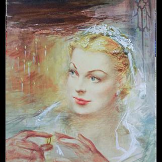 "ORIGINAL Illustration Art of ""Blonde Bride"" — Acrylic on Illustration Board, c. 1920s"